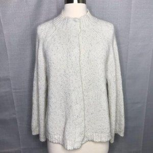 Lafayette 148 Off White Silver Shimmer Cardigan